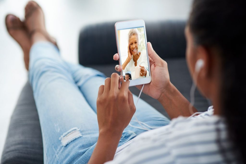Black Granddaughter using the Sociavi Companion App